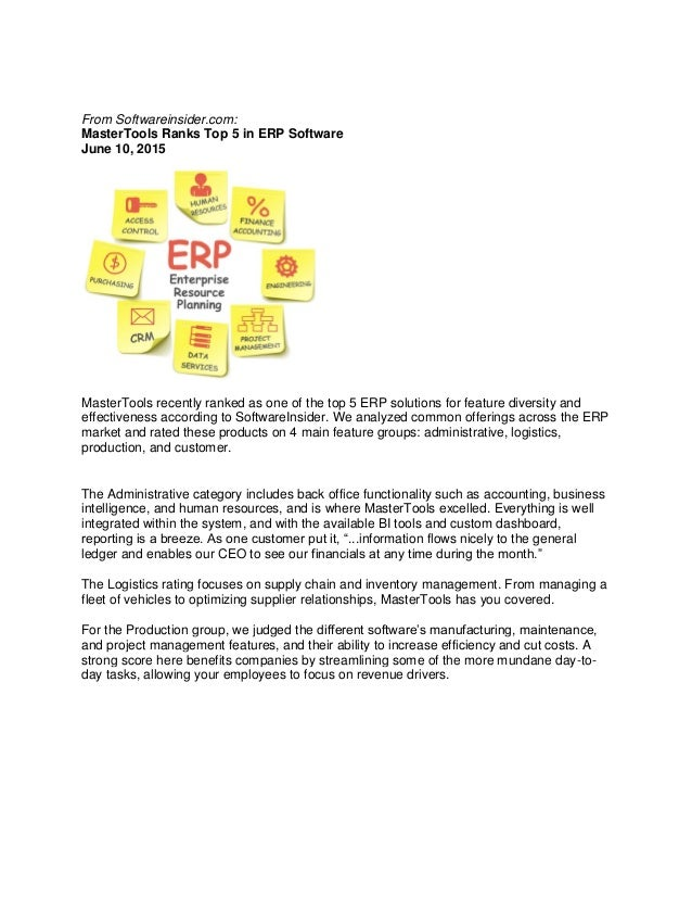 master tools erp MasterTools ERP Scores Well in ERP Functionality Comparison