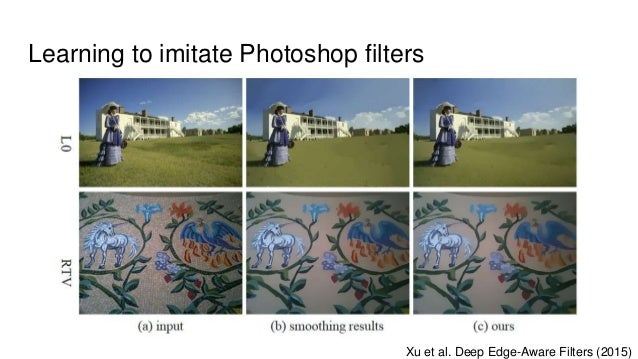 Learning to imitate Photoshop filters Xu et al. Deep Edge-Aware Filters (2015)