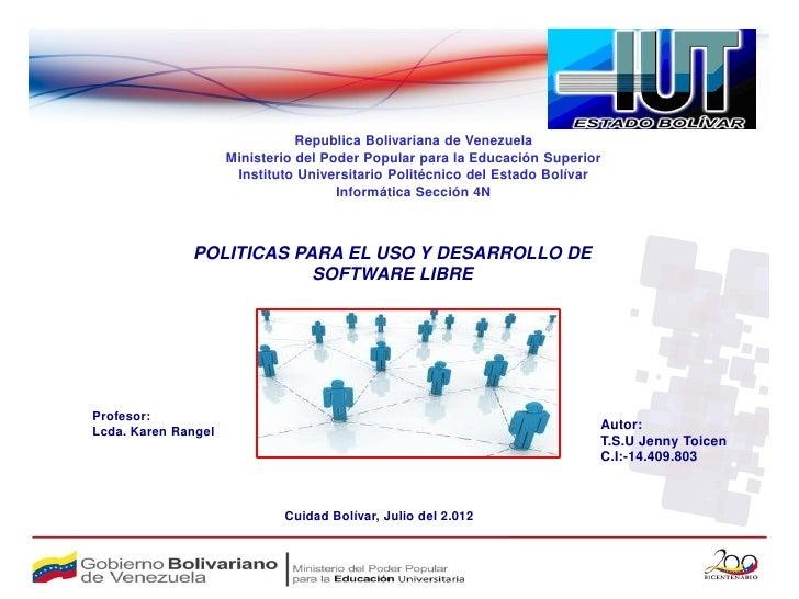 Republica Bolivariana de Venezuela                     Ministerio del Poder Popular para la Educación Superior            ...