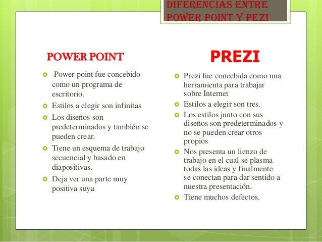 DIFERENCIAS ENTRE POWER POINT Y PEZI POWER POINT  Power point fue concebido como un programa de escritorio.  Estilos a e...