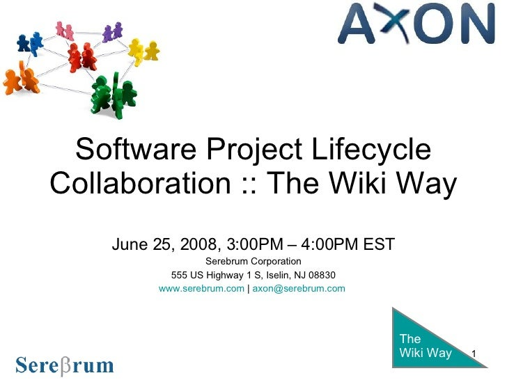 Software Project Lifecycle Collaboration :: The Wiki Way June 25, 2008, 3:00PM – 4:00PM EST Serebrum Corporation 555 US Hi...