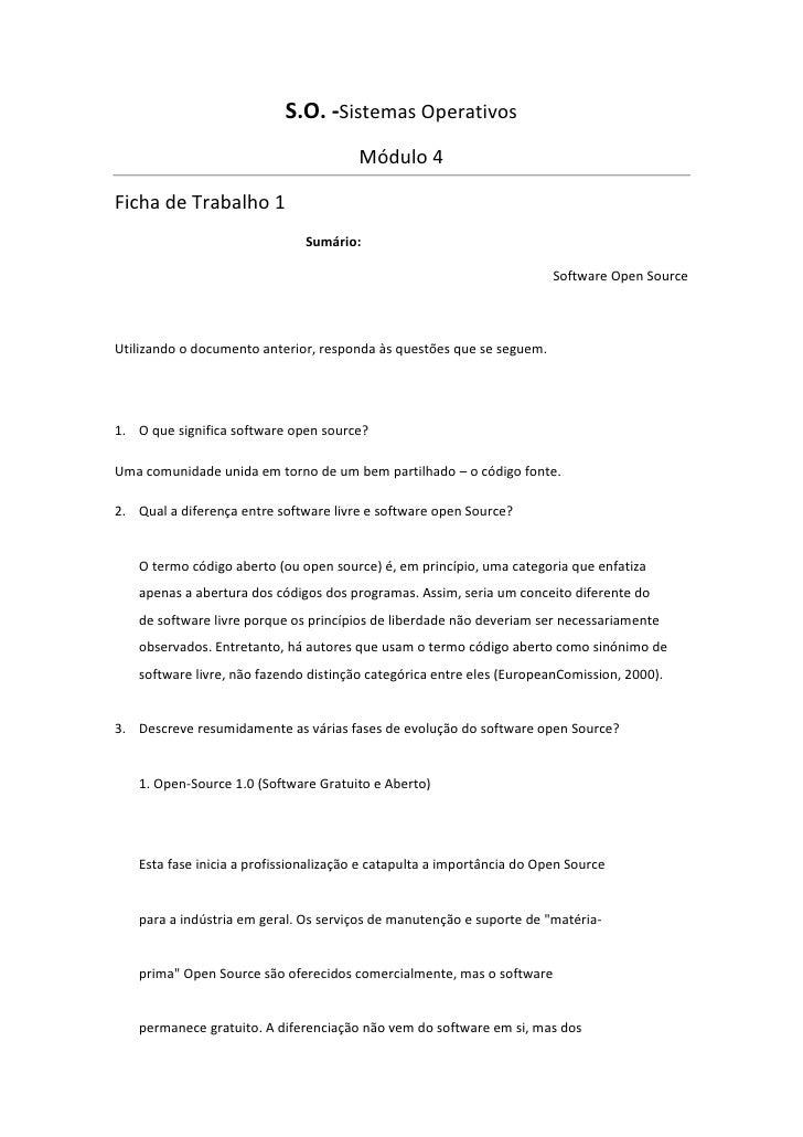 S.O. -Sistemas Operativos                                       Módulo 4Ficha de Trabalho 1                              S...