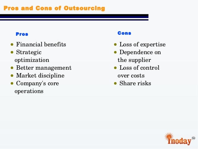 the pros and cons about outsourcing Outsourcing it may be more cost effective but is it truly a better alternative to an in-house it team explore the pros and cons to find the best fit.