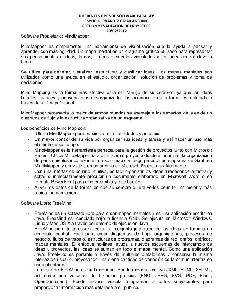 DIFERENTES TIPOS DE SOFTWARE PARA GEP                                ESPEJO HERNANDEZ OMAR ANTONIO                        ...