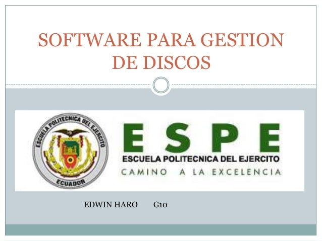 SOFTWARE PARA GESTION DE DISCOS EDWIN HARO G10