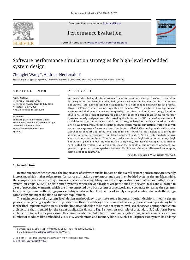 Software performance simulation strategies for high-level embedded system design