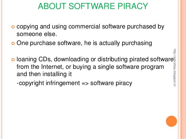 essays on software piracy Software piracy software piracy: a big crime with big consequences imaging for a moment that you come across an advertisement saying you can meet up with an.