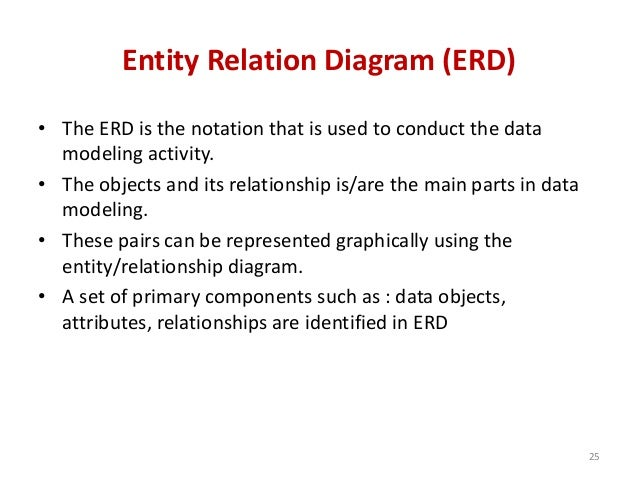 Entity Relation Diagram (ERD) • The ERD is the notation that is used to conduct the data modeling activity. • The objects ...