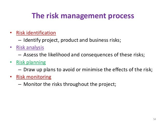 The risk management process • Risk identification – Identify project, product and business risks; • Risk analysis – Assess...