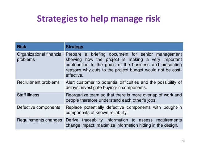 Strategies to help manage risk Risk Strategy Organizational financial problems Prepare a briefing document for senior mana...