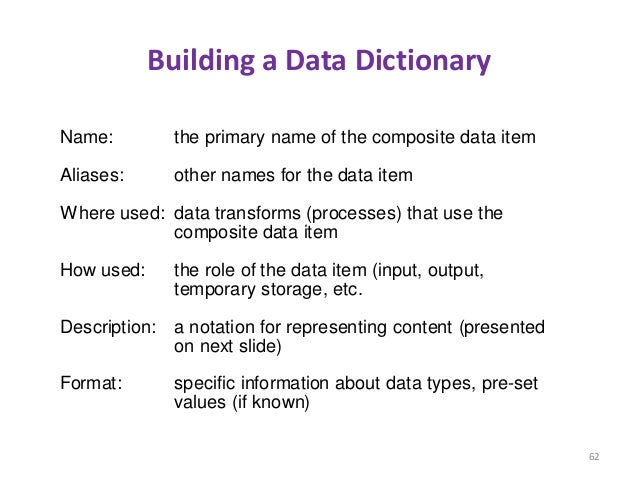 Building a Data Dictionary 62 Name: Aliases: Where used: How used: Description: Format: the primary name of the composite ...