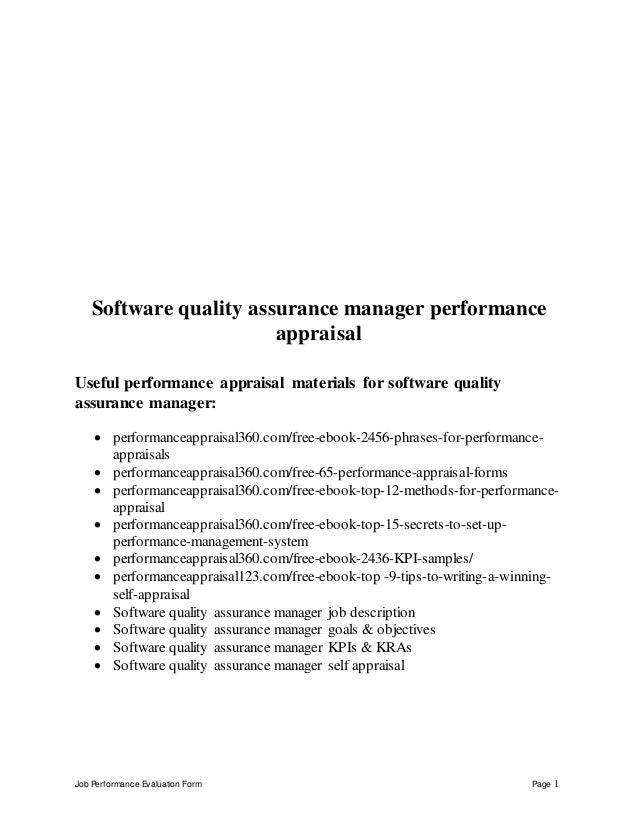 Software Evaluation Form | Software Quality Assurance Manager Performance Appraisal