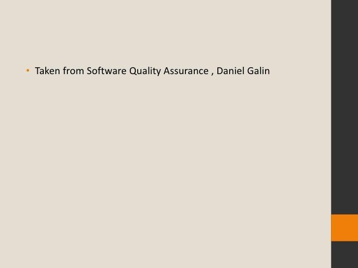 Software quality assurance by daniel galin