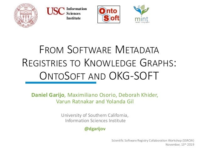 http://mint-project.info FROM SOFTWARE METADATA REGISTRIES TO KNOWLEDGE GRAPHS: ONTOSOFT AND OKG-SOFT Daniel Garijo, Maxim...
