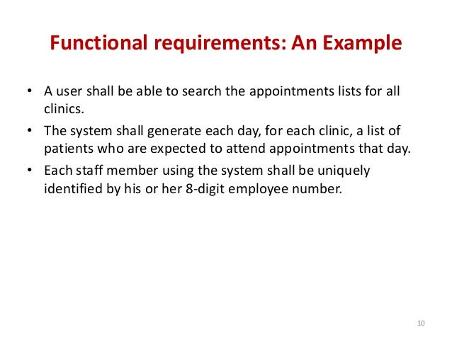 Software Requirement And Specification - Functional requirements examples