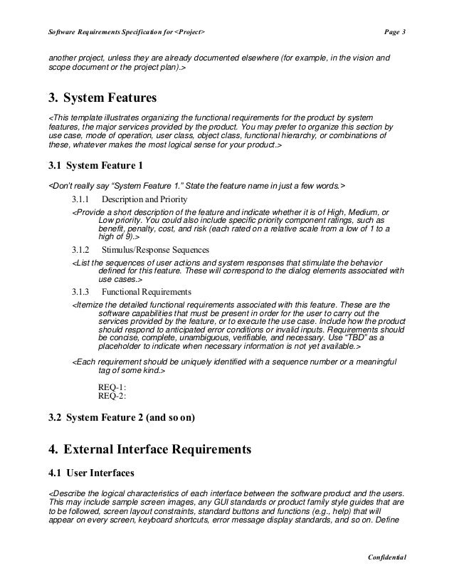 Software requirement specification master template for Software user requirements template