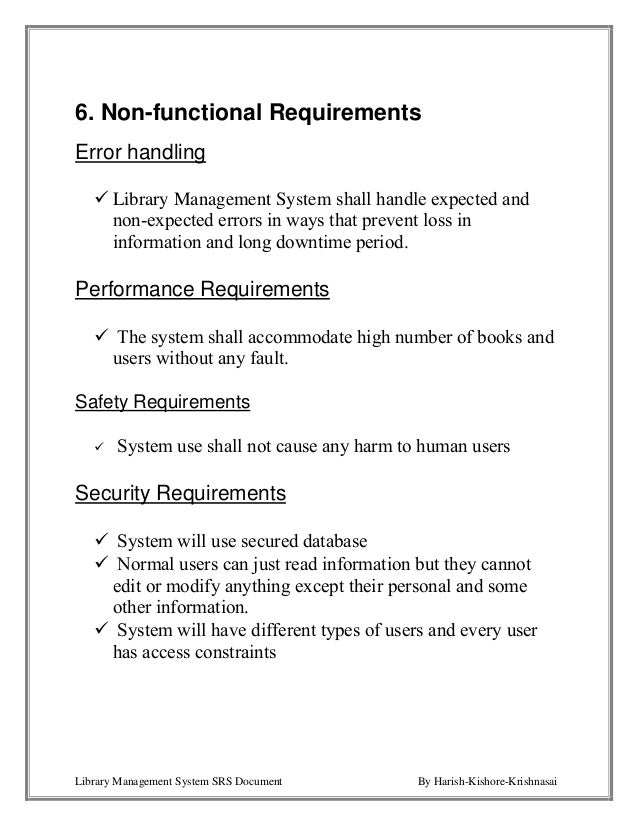 non functional and functional requirements library management Web library management system  this document contains the functional and non-functional requirements of the  software requirements specification for wlms.