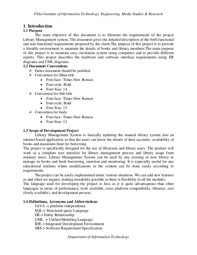 Software Engineering research document format