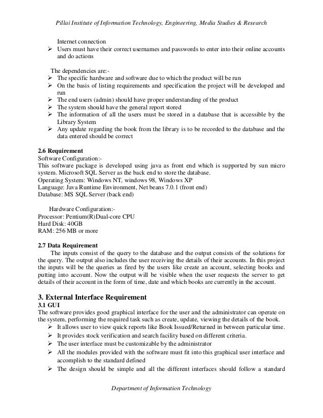 e library requirements specification Guide for performance specifications defense standardization program august 24, 2009 stdz a performance specification states requirements in terms of the required results and the criteria 3 available from library at wwwdspdlamil 4 available from.