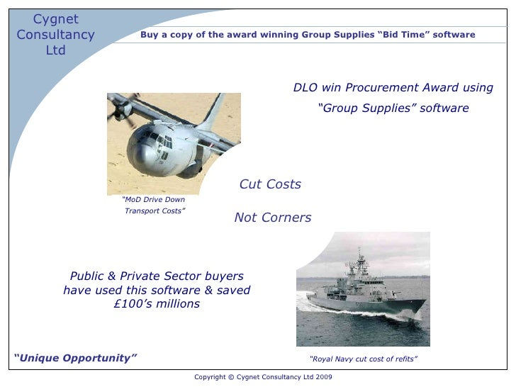 """Buy a copy of the award winning Group Supplies """"Bid Time"""" software """" Unique Opportunity"""" """" MoD Drive Down  Transport Costs..."""