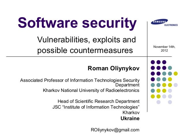Software security        Vulnerabilities, exploits and                                                             Novembe...
