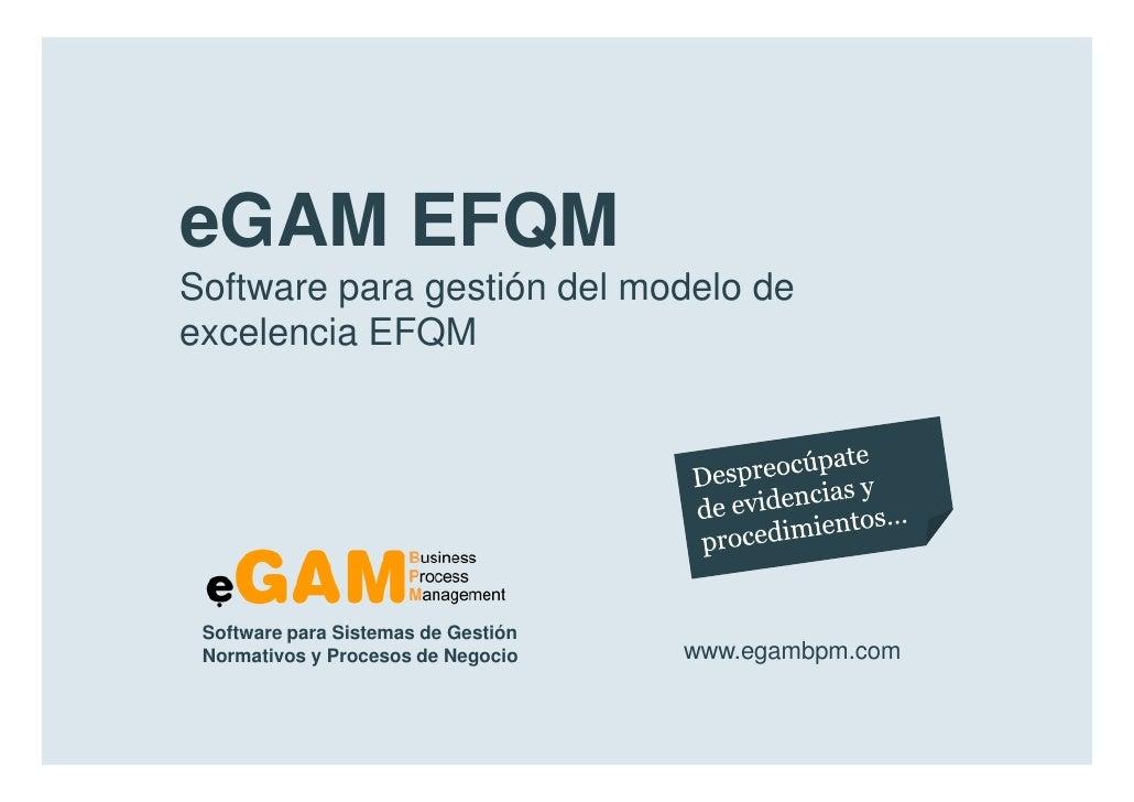 eGAM EFQM        Software para gestión del modelo de        excelencia EFQM            Software para Sistemas de Gestión  ...