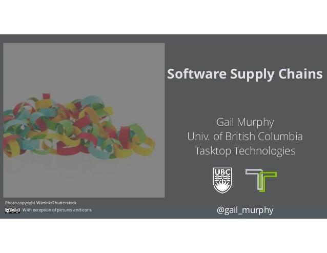 Gail Murphy Univ. of British Columbia Tasktop Technologies Software Supply Chains @gail_murphy Photo copyright Wierink/S...