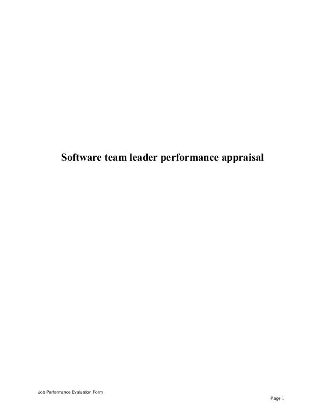 Software team leader performance appraisal Job Performance Evaluation Form Page 1