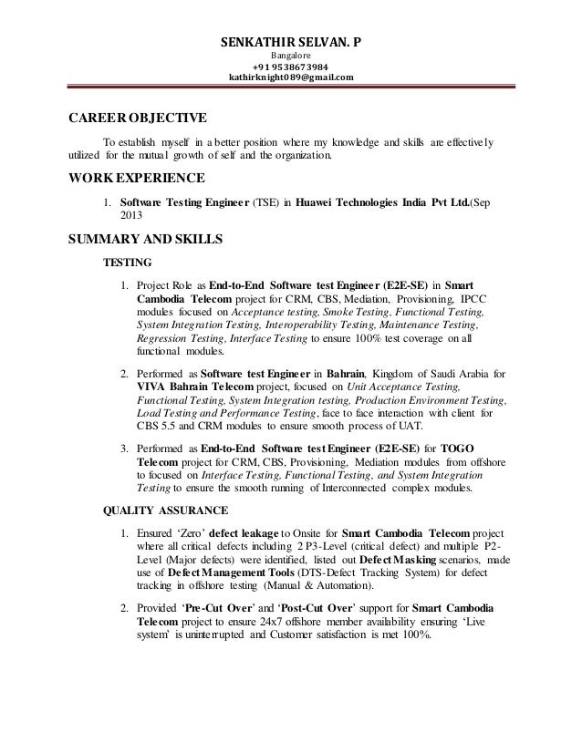 sample resume for software test engineer with experience - software test engineer 39 s resume