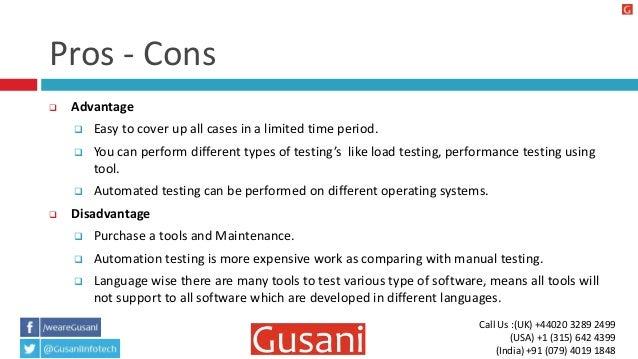 basics of automation manual software testing rh slideshare net Advantages and Disadvantages Clip Art Advantages and Disadvantages of Internet