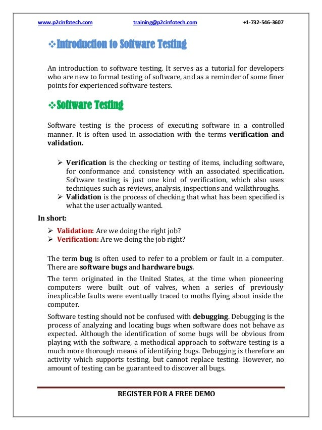 www.p2cinfotech.com  training@p2cinfotech.com  +1-732-546-3607  Introduction to Software Testing An introduction to softw...