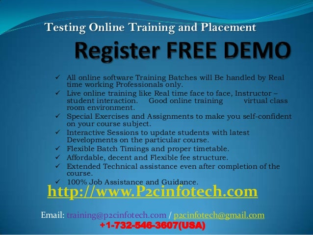 Testing Online Training and Placement    All online software Training Batches will Be handled by Real       time working ...
