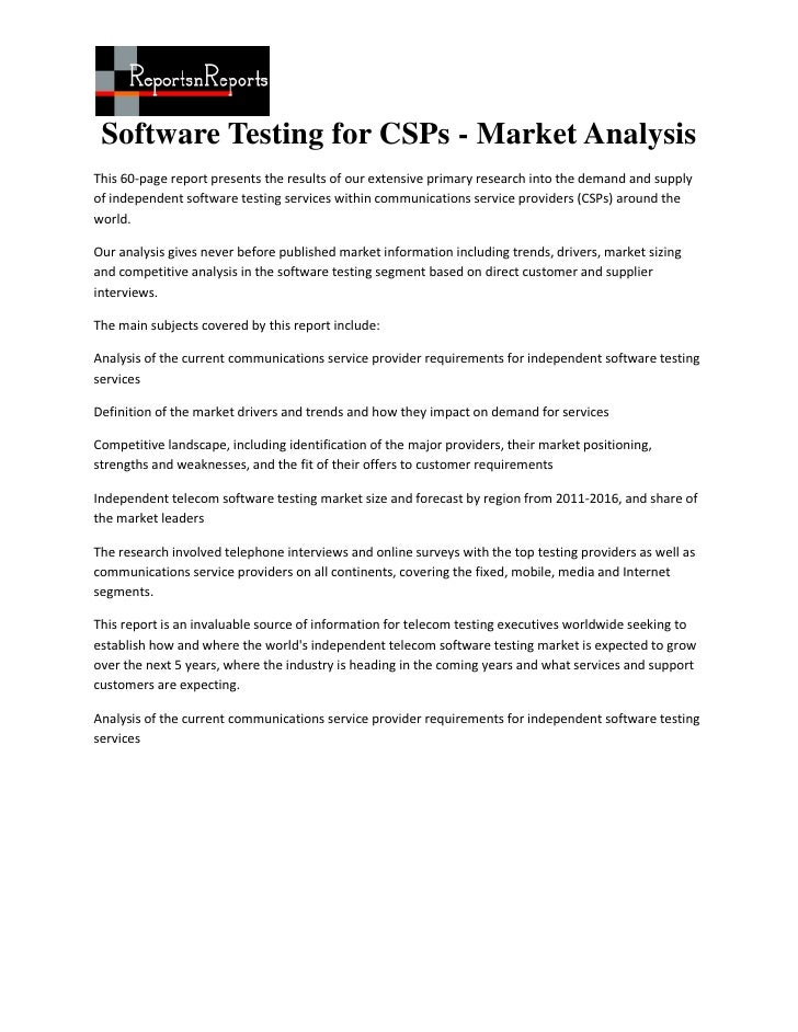 Software Testing for CSPs - Market AnalysisThis 60-page report presents the results of our extensive primary research into...