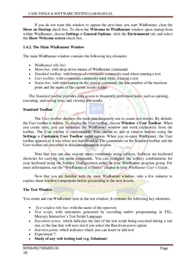 software testing lab manual rh slideshare net Load Runner WinRunner Tutorial