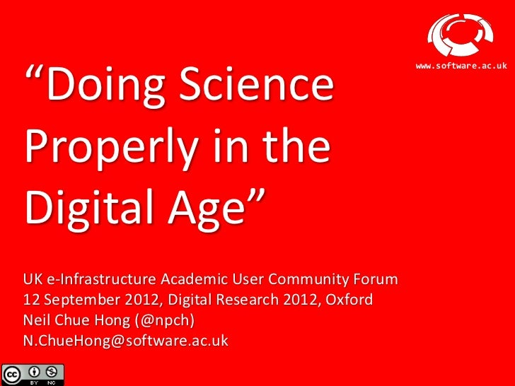 """""""Doing Science                                                        www.software.ac.ukProperly in theDigital Age""""UK e-In..."""