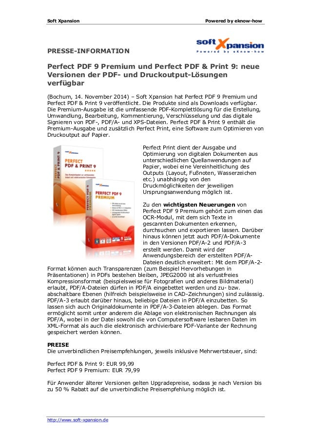 Soft Xpansion Powered by eknow-how http://www.soft-xpansion.de PRESSE-INFORMATION Perfect PDF 9 Premium und Perfect PDF & ...