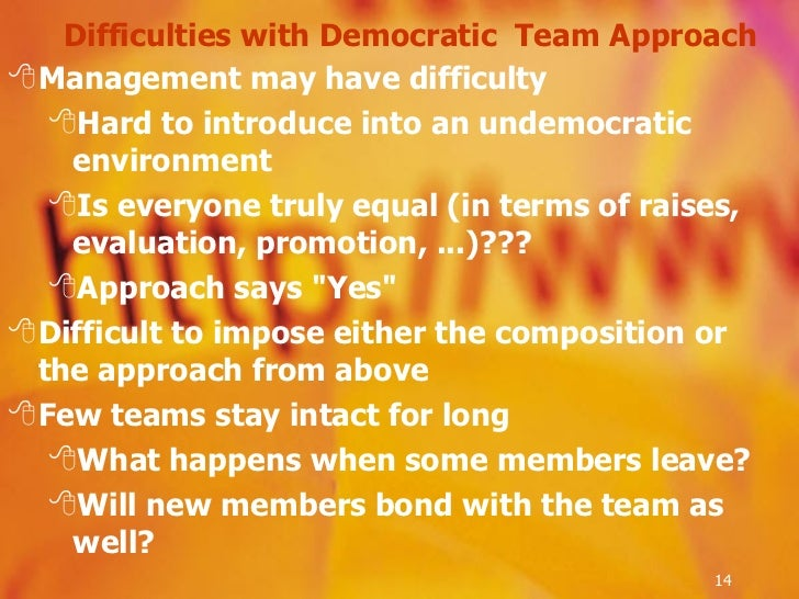 Difficulties with Democratic  Team Approach <ul><li>Management may have difficulty </li></ul><ul><ul><li>Hard to introduce...