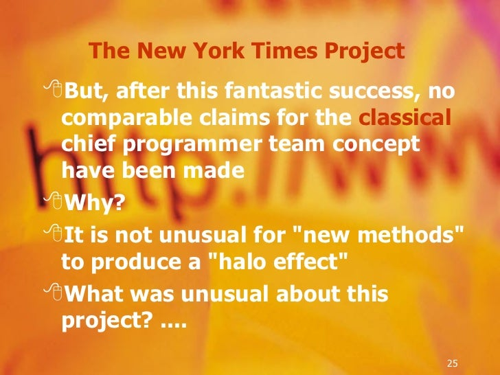 The New York Times Project  <ul><li>But, after this fantastic success, no comparable claims for the  classical  chief prog...