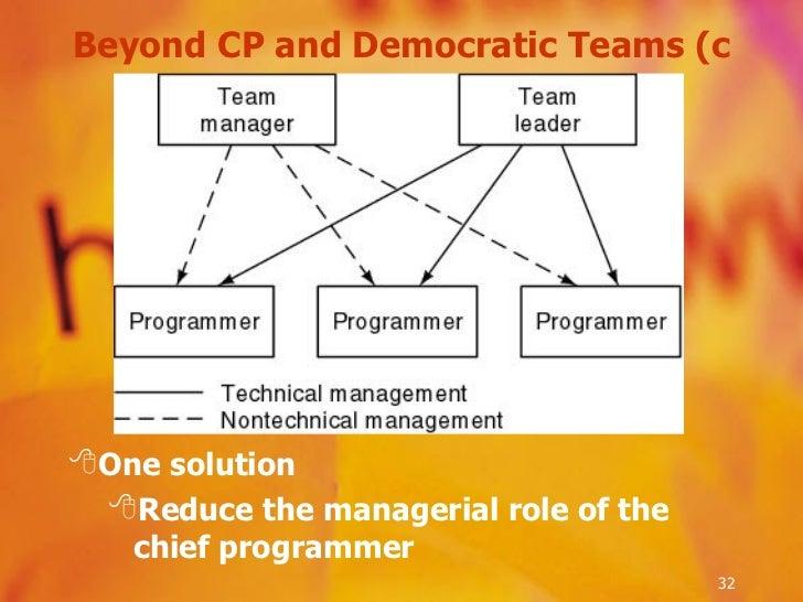 Beyond CP and Democratic Teams (c <ul><li>One solution </li></ul><ul><ul><li>Reduce the managerial role of the chief progr...