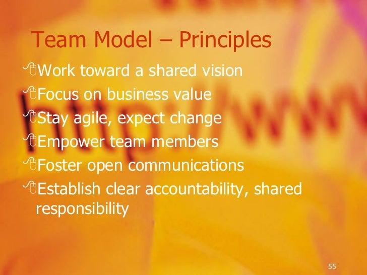 <ul><li>Work toward a shared vision </li></ul><ul><li>Focus on business value </li></ul><ul><li>Stay agile, expect change ...