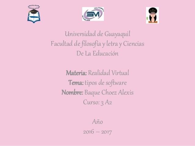 Universidad de Guayaquil Facultad de filosofía y letra y Ciencias De La Educación Materia: Realidad Virtual Tema: tipos de...