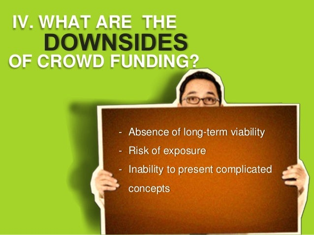 IV. WHAT ARE THEOF CROWD FUNDING?          - Absence of long-term viability          - Risk of exposure          - Inabili...