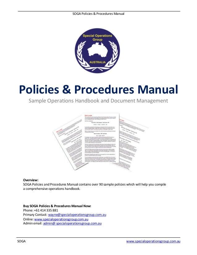 soga policies procedures manual software sample rh slideshare net policy procedure manual example policy procedure manual template free