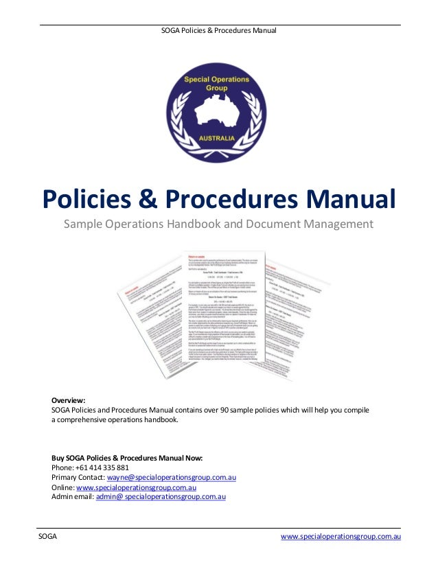 SOGA Policies U0026 Procedures Manual SOGA Www.specialoperationsgroup.com.au  Policies U0026 Procedures ...