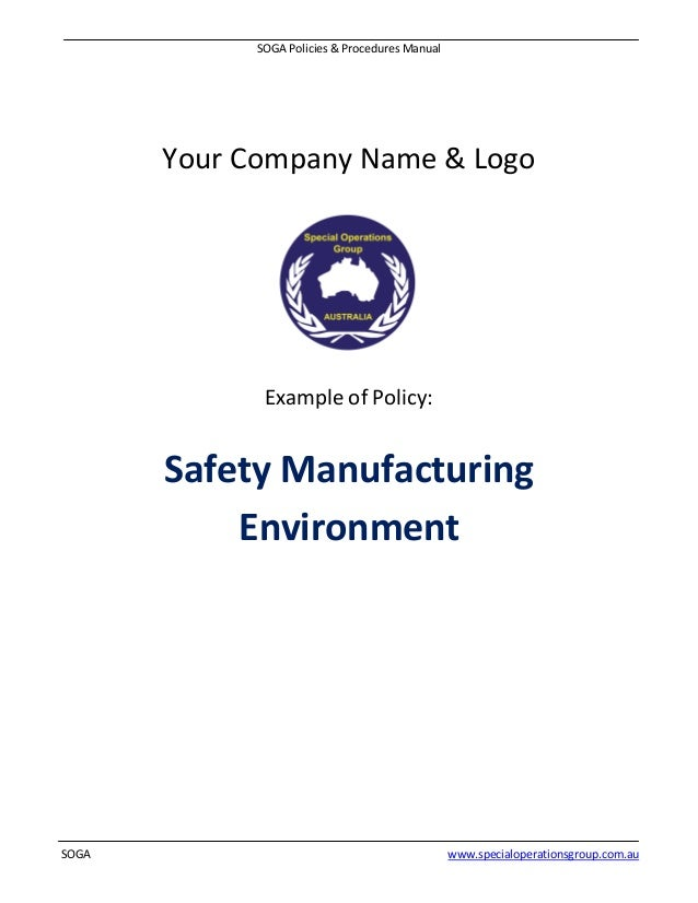 Soga policies procedures manual software sample – Sample Safety Manual Template
