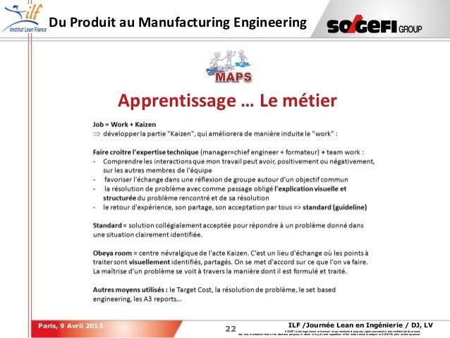 2222ILF /Journée Lean en Ingénierie / DJ, LVParis, 9 Avril 2013SOGEFI is the legal owner or licensee of any intellectual p...