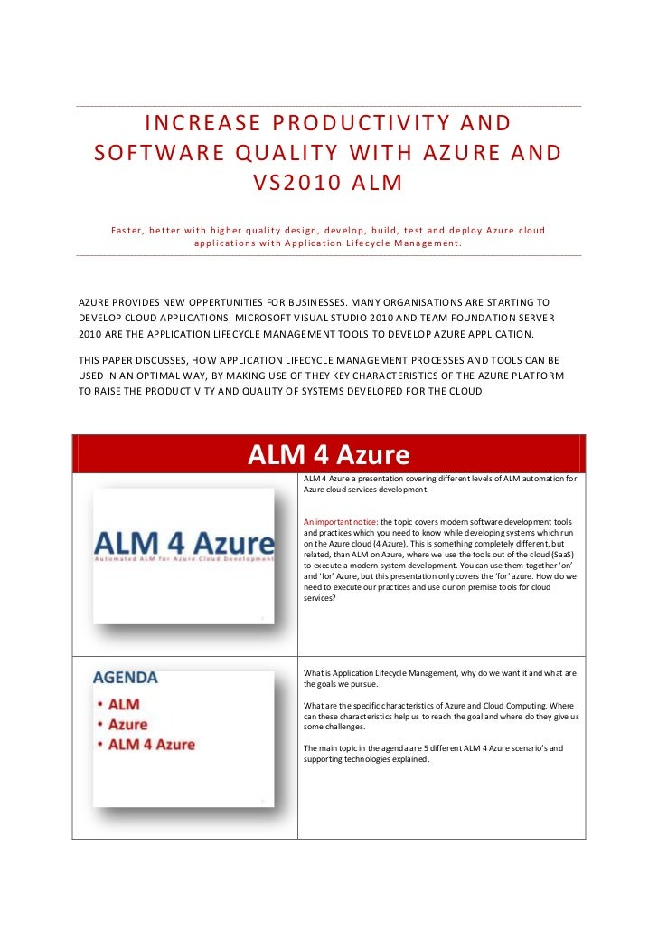INCREASE PRODUCTIVITY AND  SOFTWARE QUALITY WITH AZURE AND            VS2010 ALM     F a s t e r , b e t t e r w i t h h i...