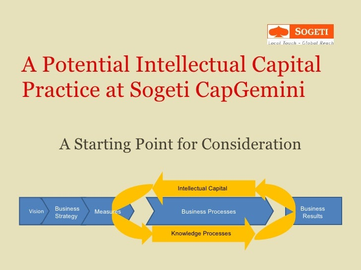 A Potential Intellectual Capital Practice at Sogeti CapGemini A Starting Point for Consideration Vision Business Strategy ...