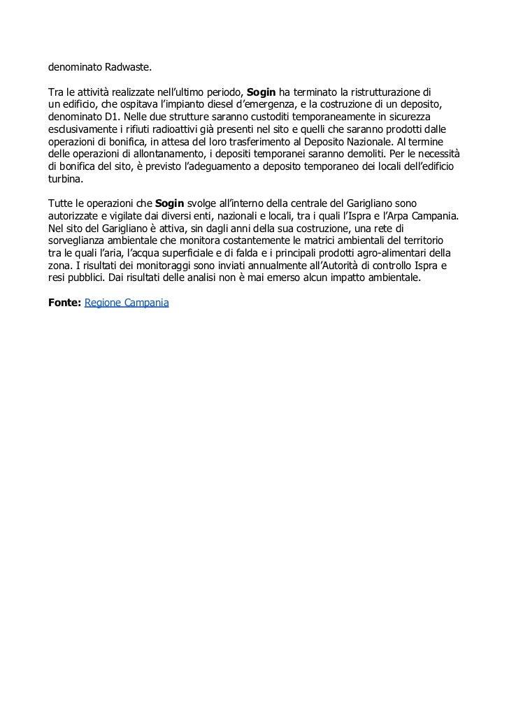 Giuseppe Nucci (Sogin): Dismissione centrale Garigliano in linea con i programmi Slide 2