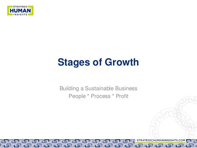 Stages of Growth Building a Sustainable Business People * Process * Profit